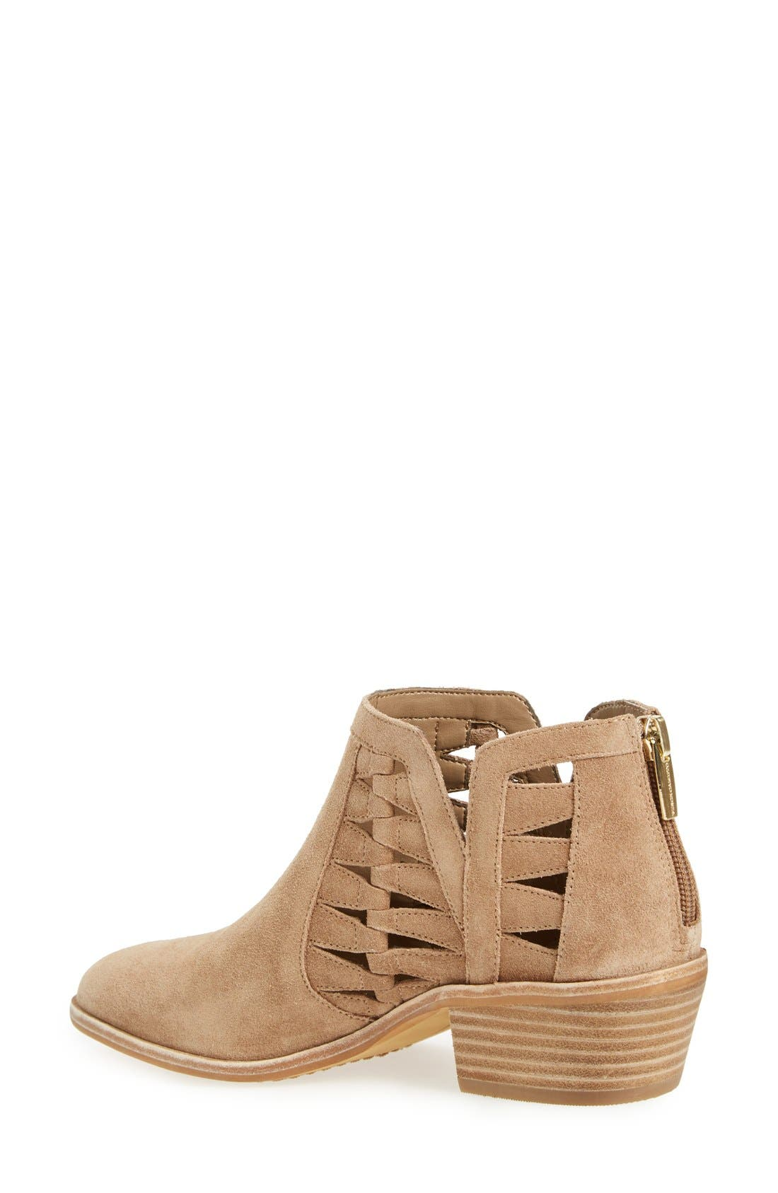 'Peera' Cutout Bootie,                             Alternate thumbnail 2, color,                             Khaki Suede
