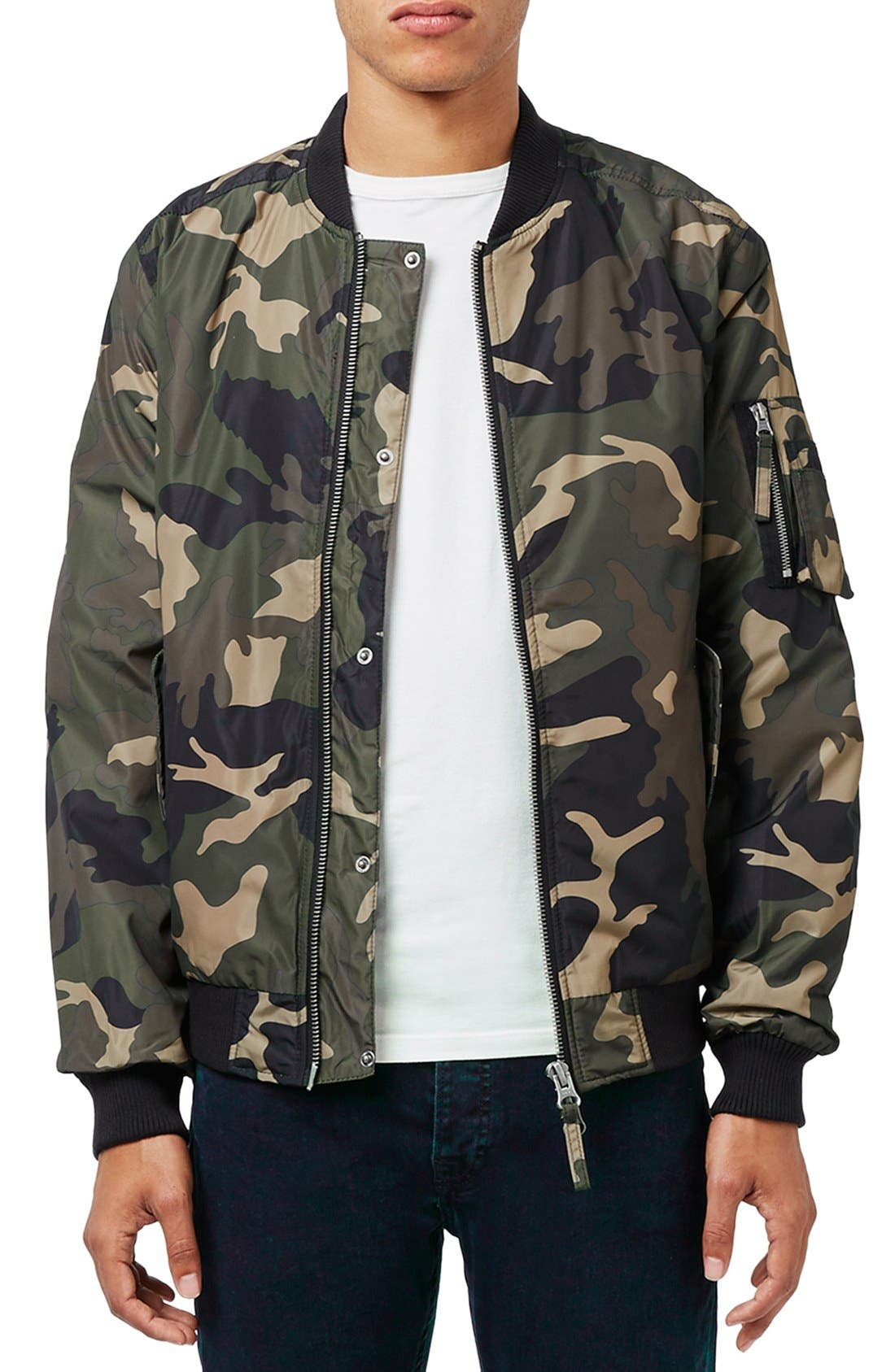 Alternate Image 1 Selected - Topman Camo Print MA-1 Bomber Jacket