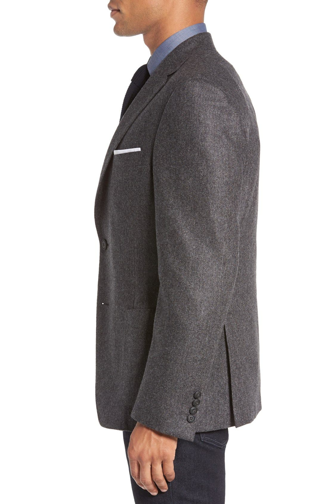 Beckett Classic Fit Herringbone Cashmere Sport Coat,                             Alternate thumbnail 3, color,                             Charcoal