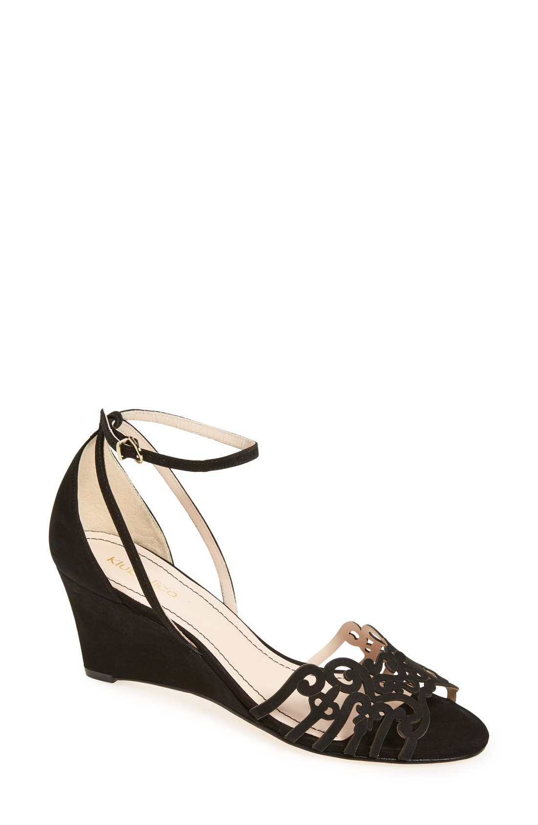 'Kingston' Ankle Strap Wedge Sandal,                             Main thumbnail 1, color,                             Black Nubuck Leather