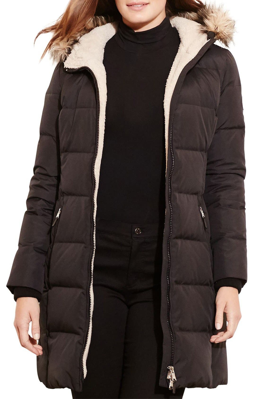 Quilted Down & Feather Fill Parka with Faux Fur Trim,                         Main,                         color, Black