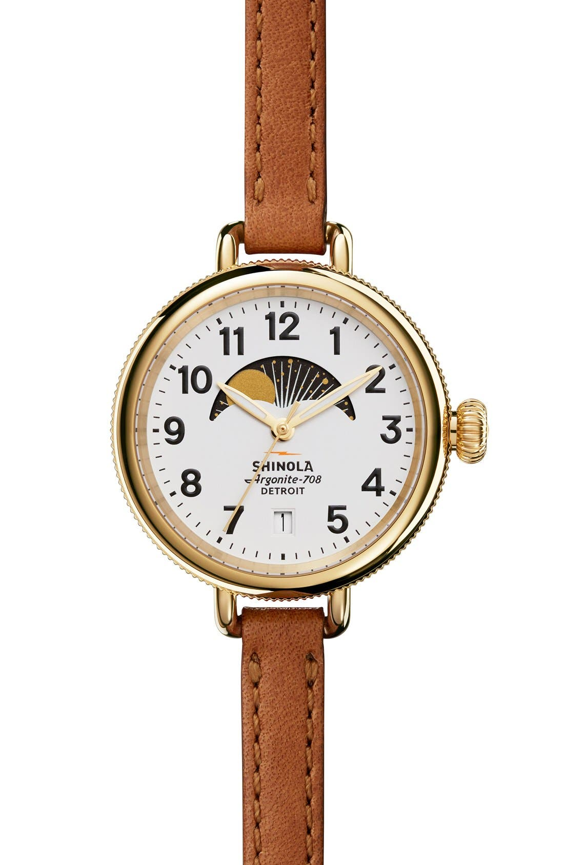 'The Birdy' Moon Phase Leather Strap Watch, 34mm,                         Main,                         color, Brown/ White