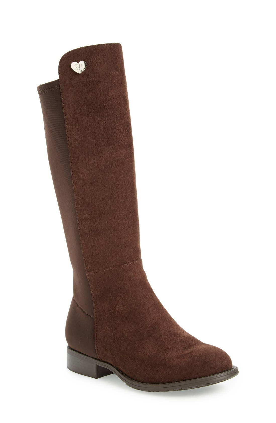 '50/50' Stretch Back Riding Boot,                             Main thumbnail 1, color,                             Brown Leather