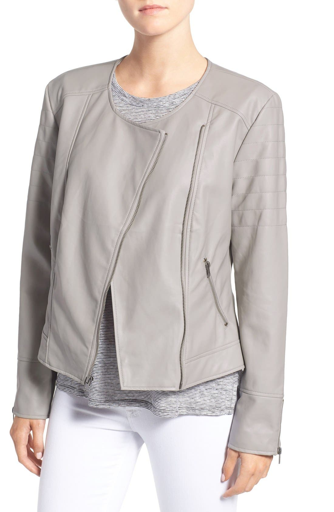 Alternate Image 1 Selected - cupcakes and cashmere 'Kadence' Faux Leather Asymmetrical Moto Jacket
