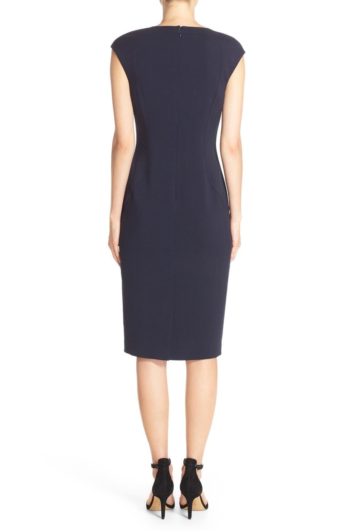 Cap Sleeve Crepe Sheath Dress,                             Alternate thumbnail 2, color,                             Navy