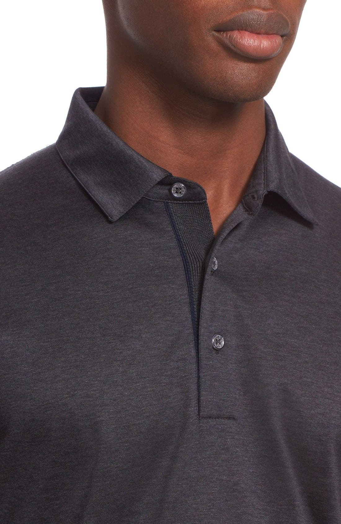 Heathered Mercerized Jersey Polo,                             Alternate thumbnail 4, color,                             Charcoal