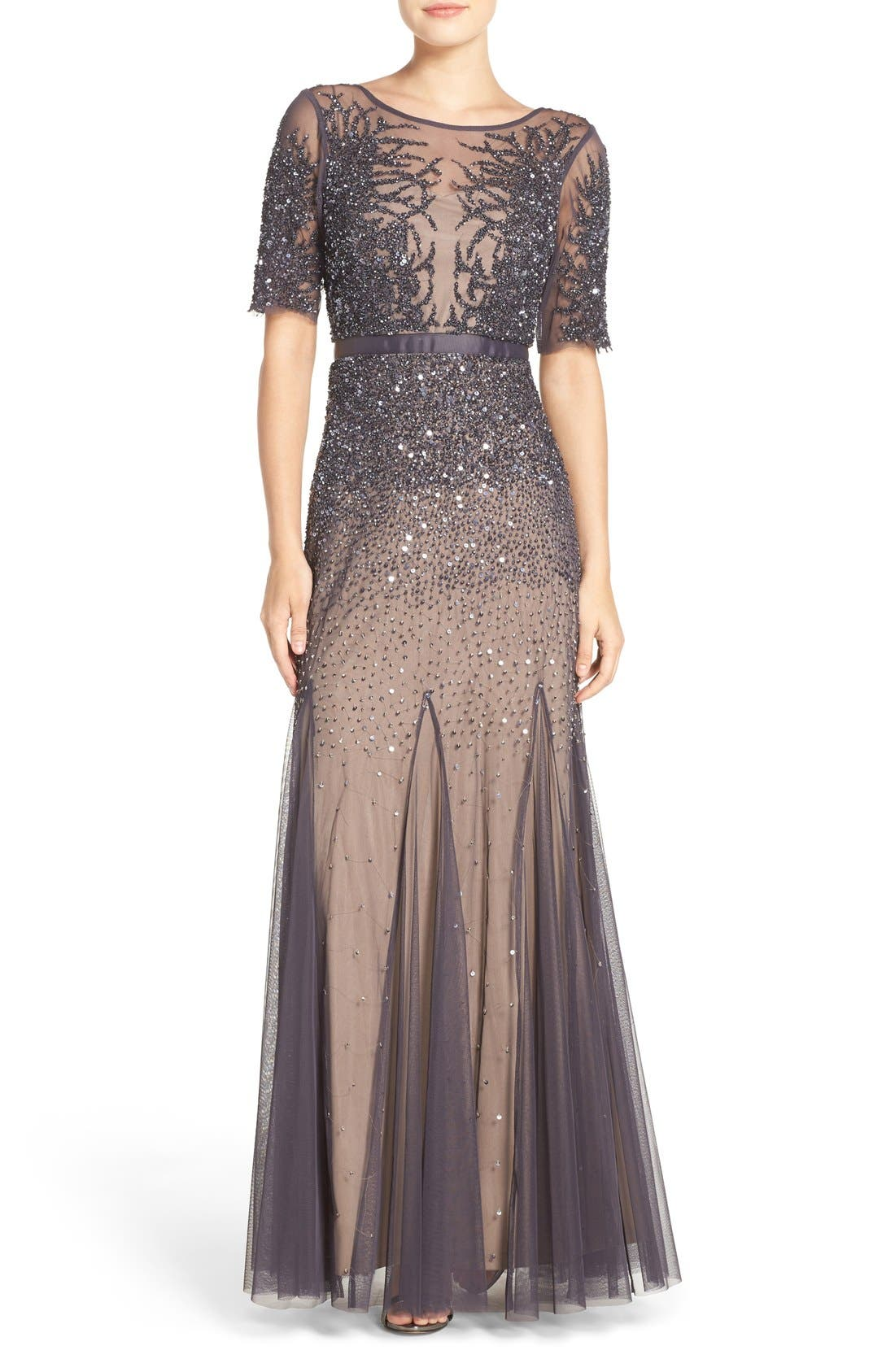 Alternate Image 1 Selected - Adrianna Papell Embellished Mesh Mermaid Gown