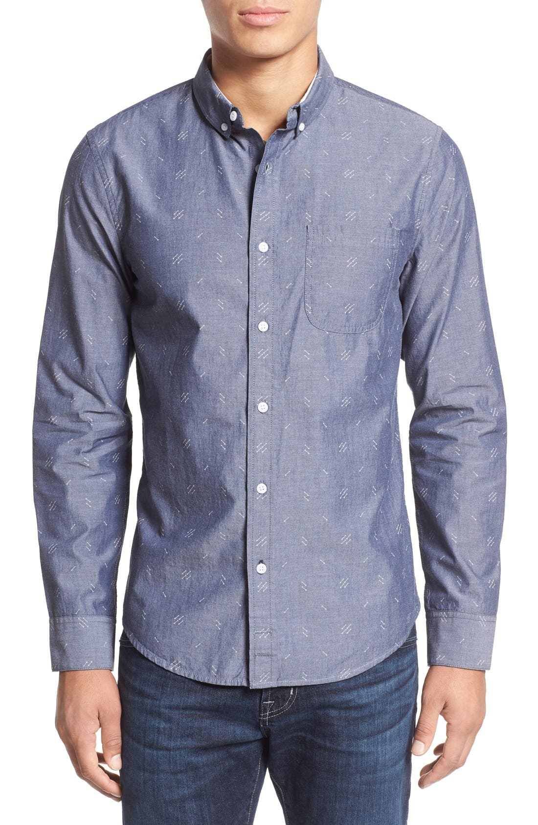 'Baker' Slim Fit Arrow Print Woven Shirt,                         Main,                         color, Navy Iris Arrows Print