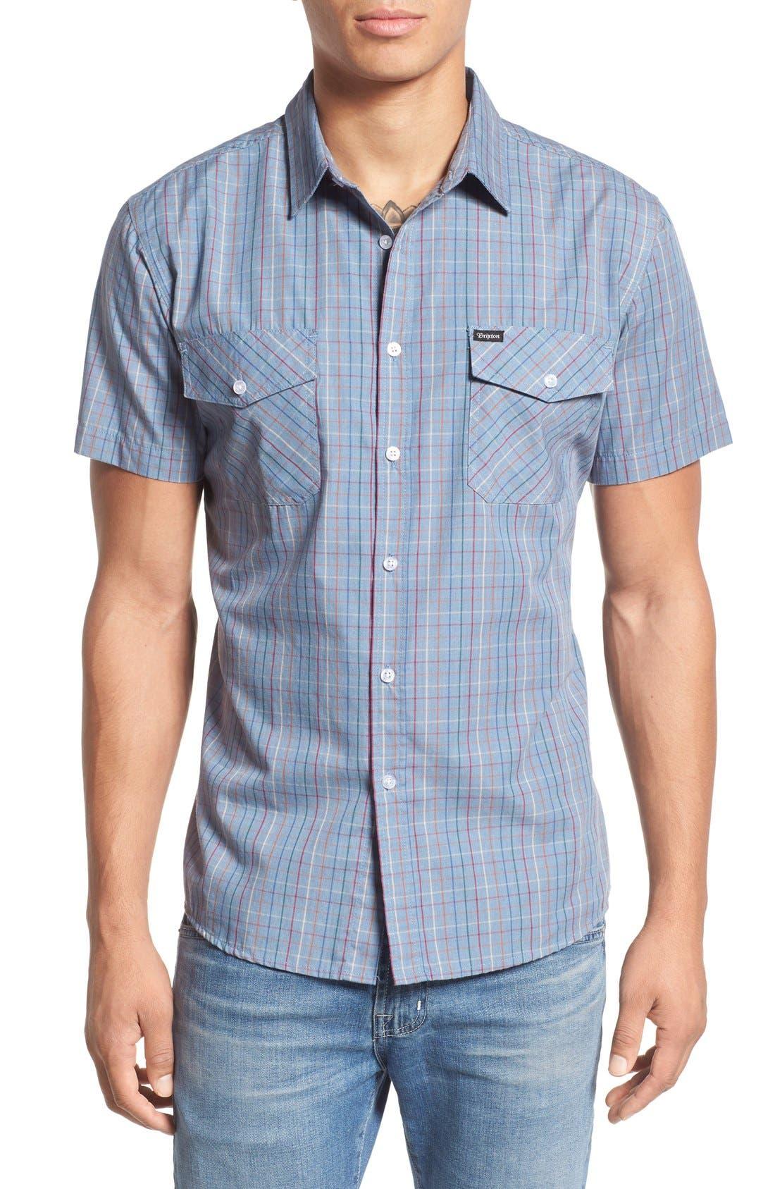 'Memphis' Trim Fit Plaid Short Sleeve Woven Shirt,                             Main thumbnail 1, color,                             Washed Blue