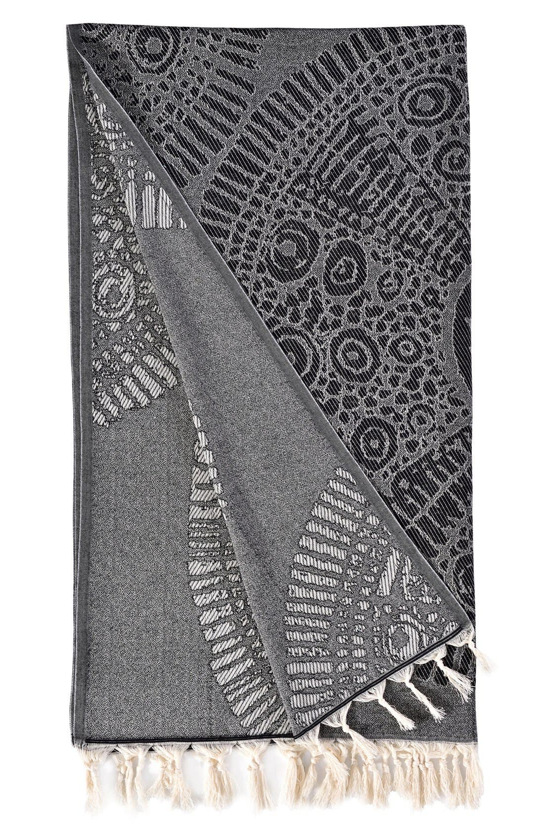 Anatolian Turkish Pestemal Beach Towel,                             Alternate thumbnail 2, color,                             Black