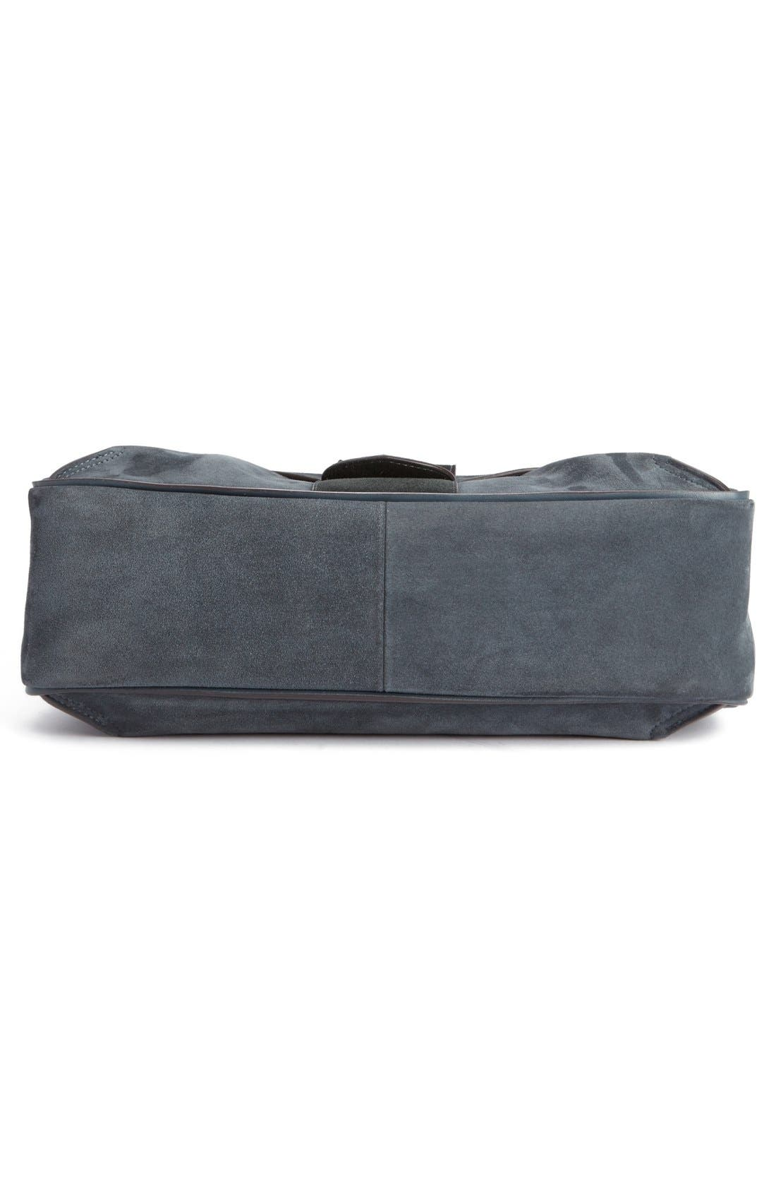 'Medium Lexa' Suede Shoulder Bag,                             Alternate thumbnail 5, color,                             Silver Blue