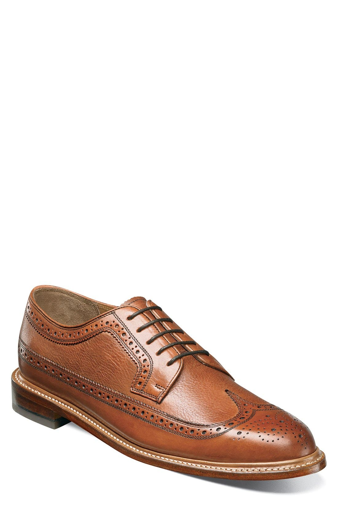 'Heritage' Wingtip,                             Main thumbnail 1, color,                             Cognac Leather