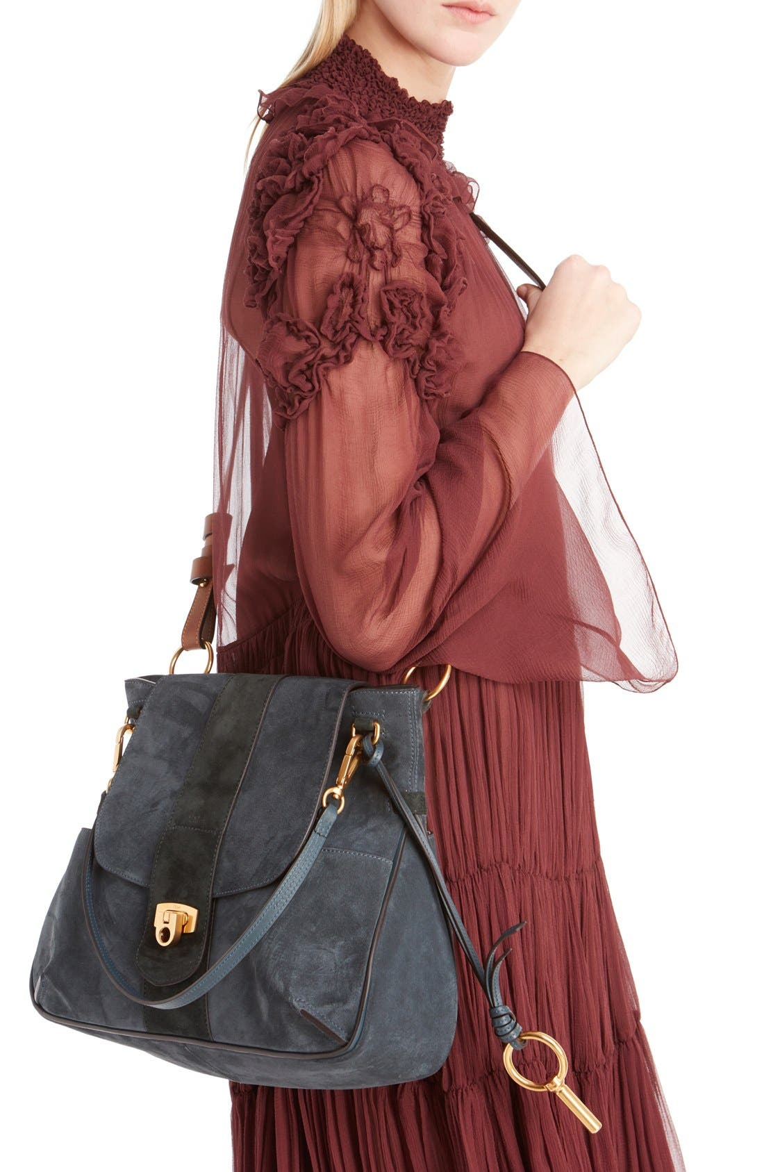 'Medium Lexa' Suede Shoulder Bag,                             Alternate thumbnail 3, color,                             Silver Blue