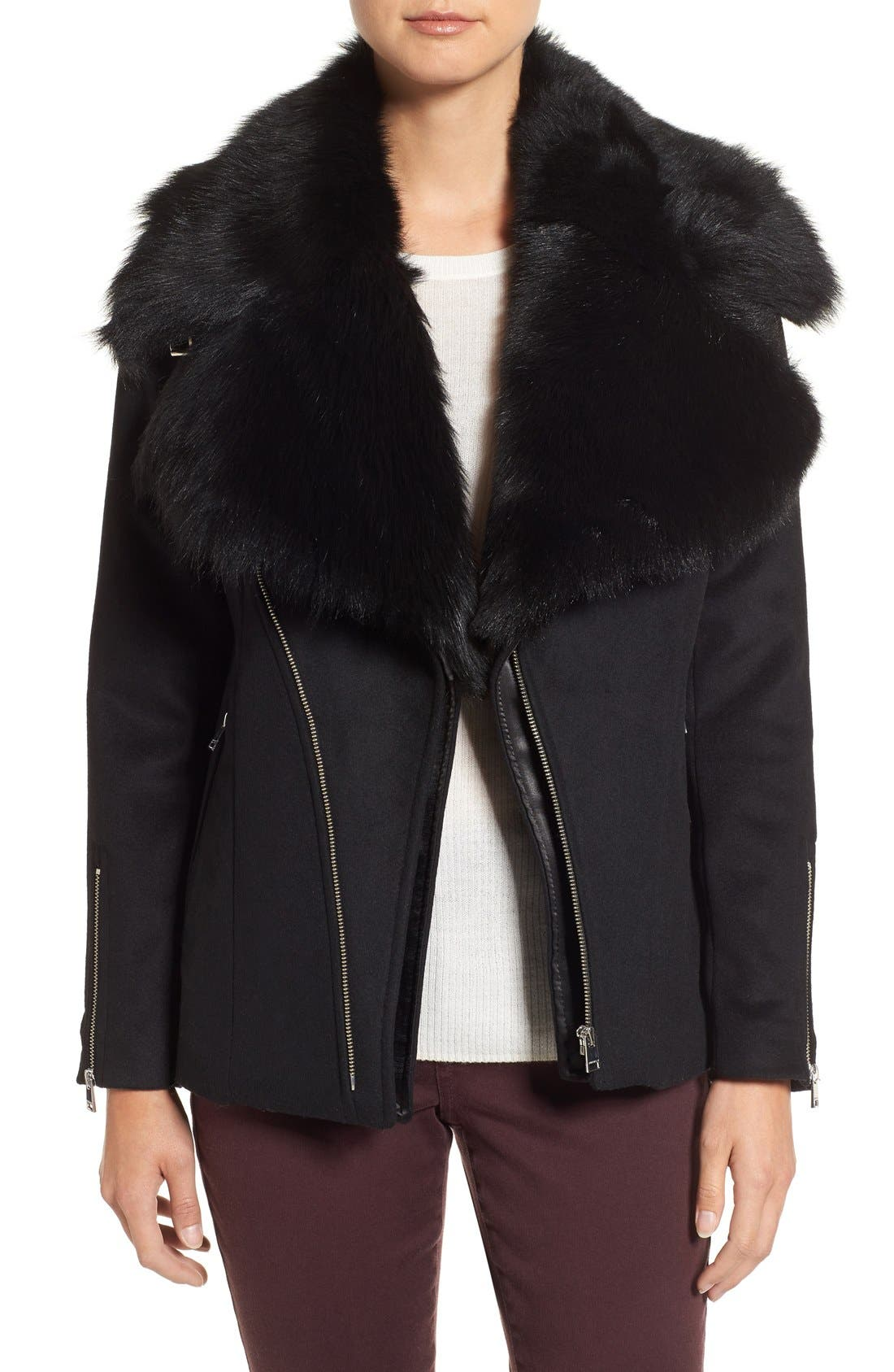 LAMARQUE Wool Blend Moto Jacket with Detachable Genuine Shearling Collar