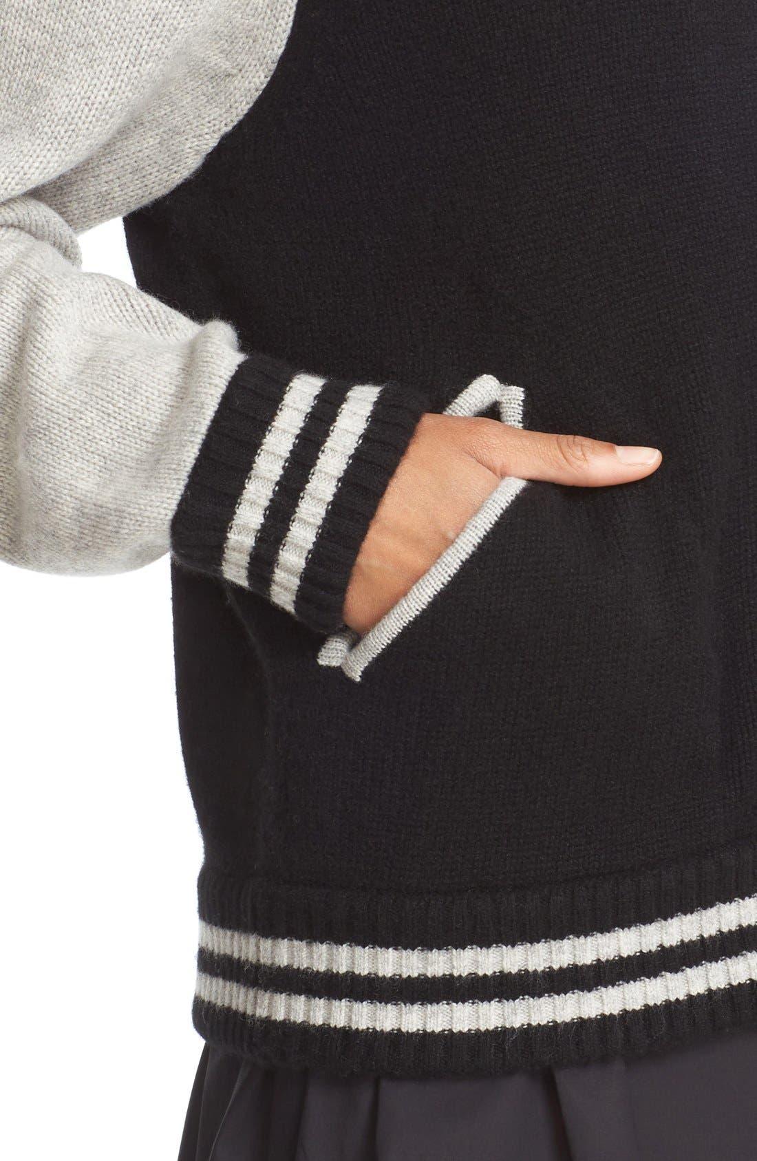Stripe Detail Wool & Cashmere Knit Varsity Jacket,                             Alternate thumbnail 7, color,                             Black