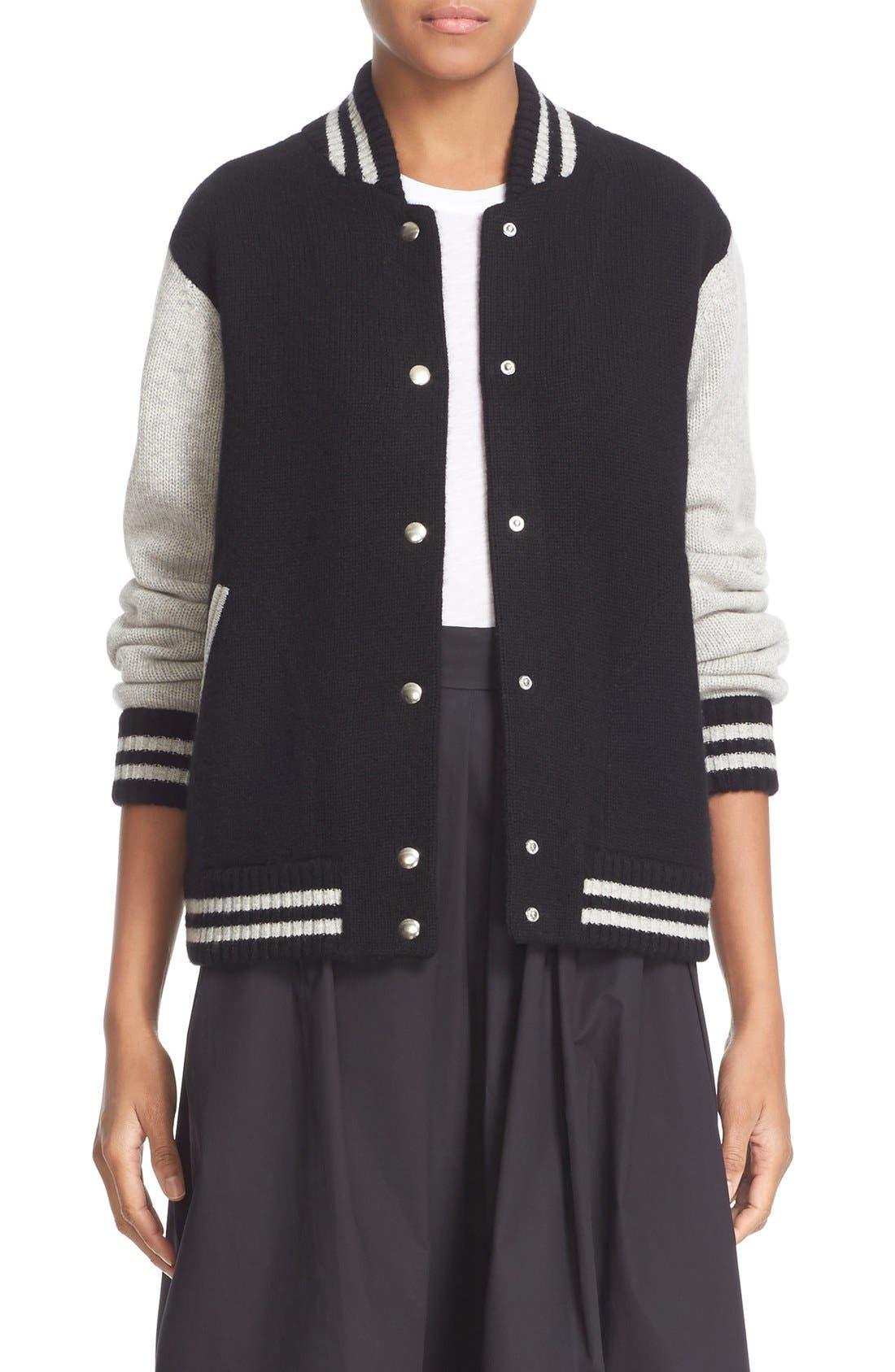 Stripe Detail Wool & Cashmere Knit Varsity Jacket,                             Main thumbnail 1, color,                             Black