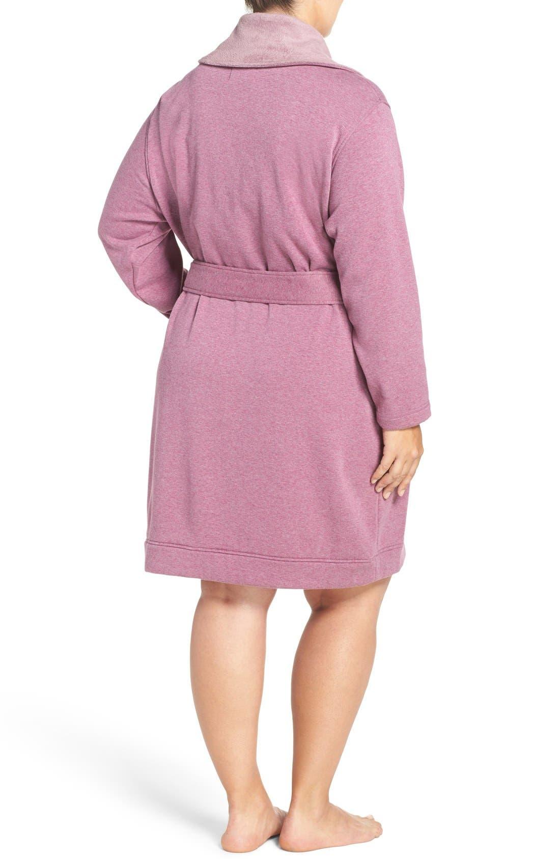 'Blanche' Plush Shawl Collar Robe,                             Alternate thumbnail 2, color,                             Shadow Heather