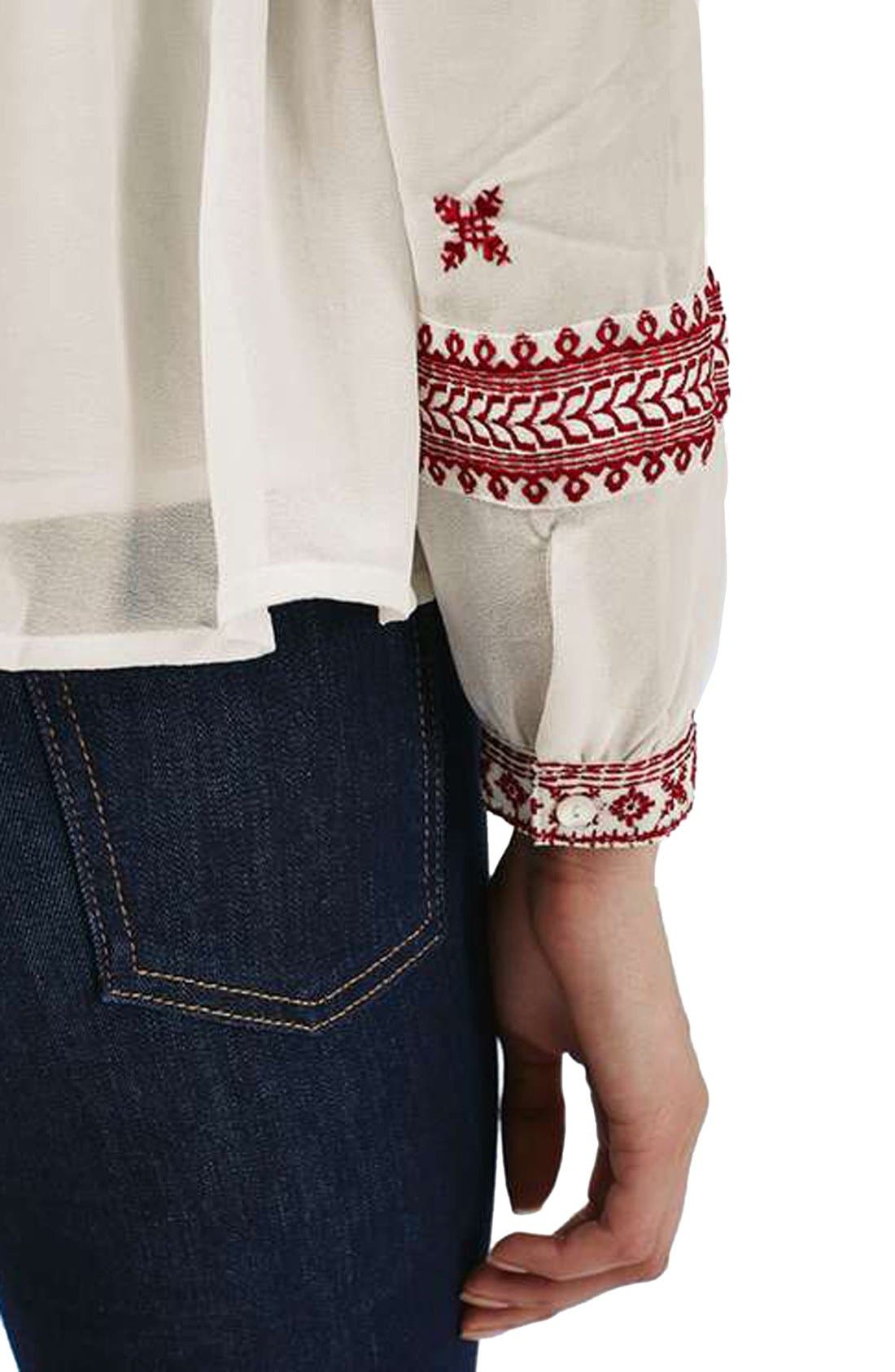 Alternate Image 5  - Topshop Embroidered Peasant Top