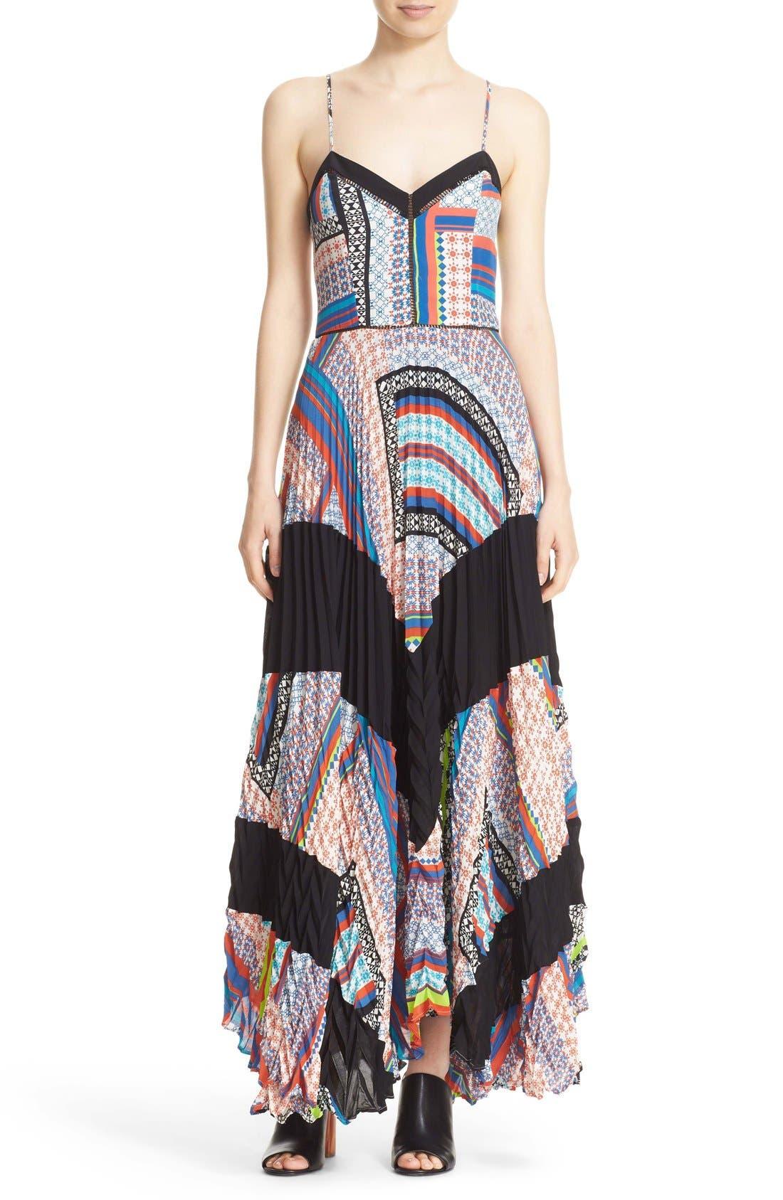 Main Image - Parker 'Skye' Mixed Print Silk Maxi Dress