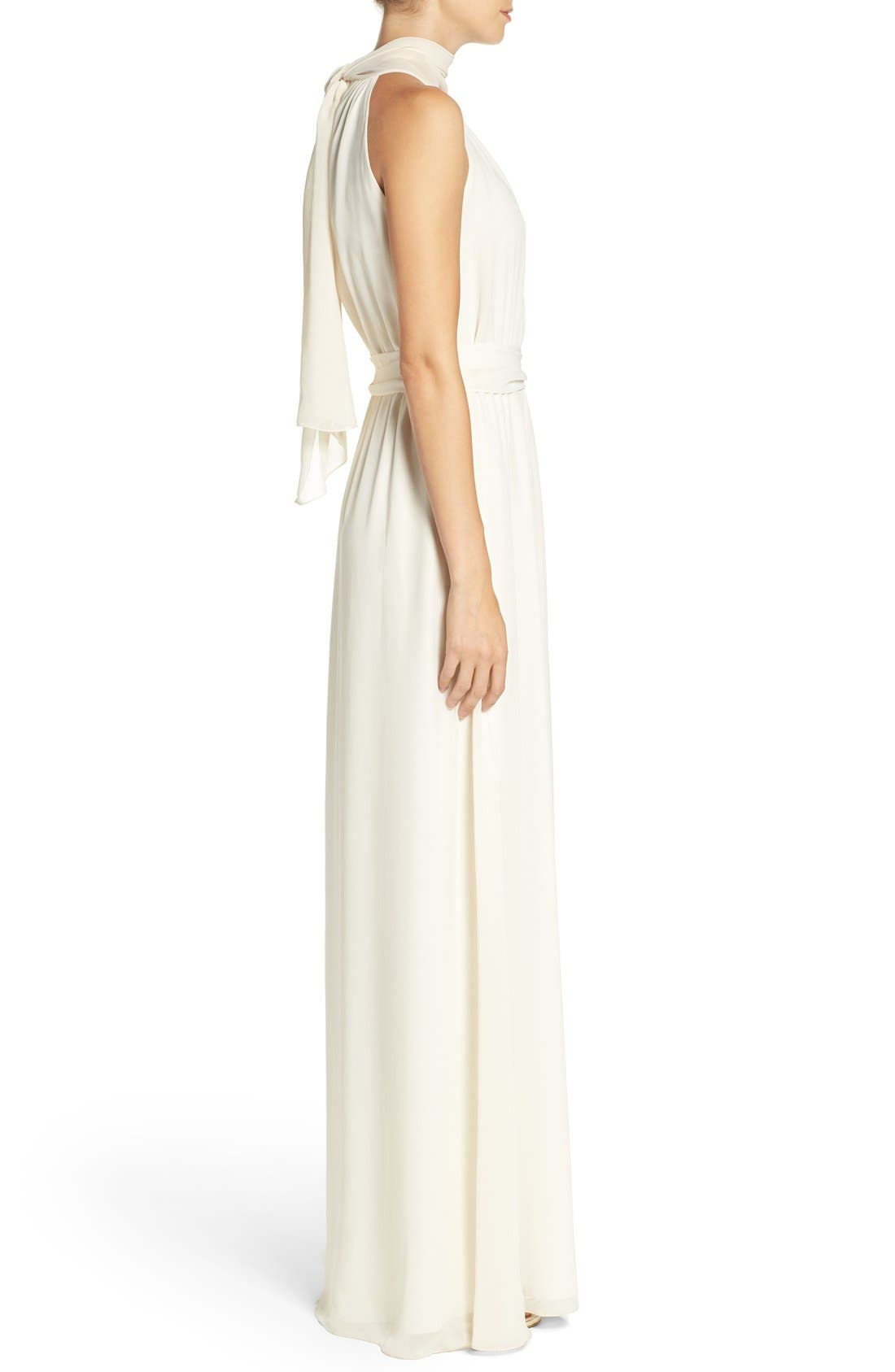 Alternate Image 4  - Ceremony by Joanna August 'Riggs' Halter V-Neck Chiffon Gown