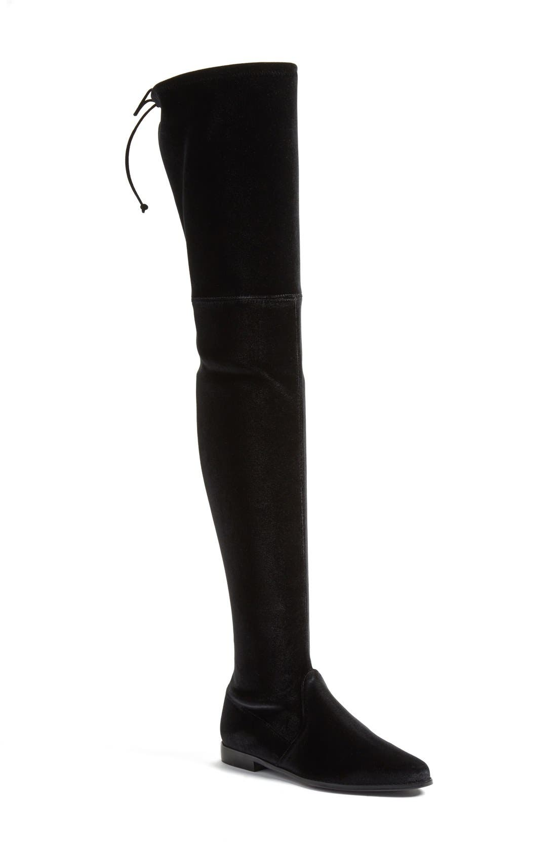'Leggylady' Over the Knee Boot,                         Main,                         color, Nero Stretch Velvet
