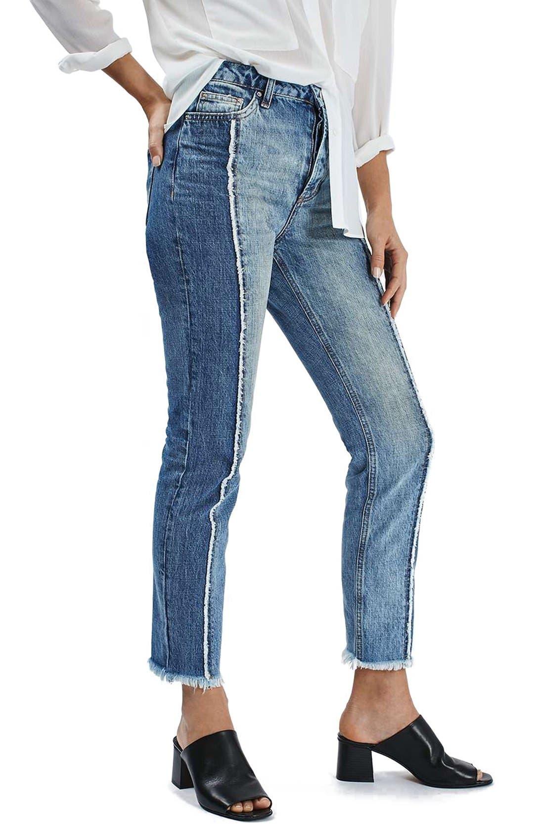 Main Image - Topshop Panel Crop Straight Leg Jeans