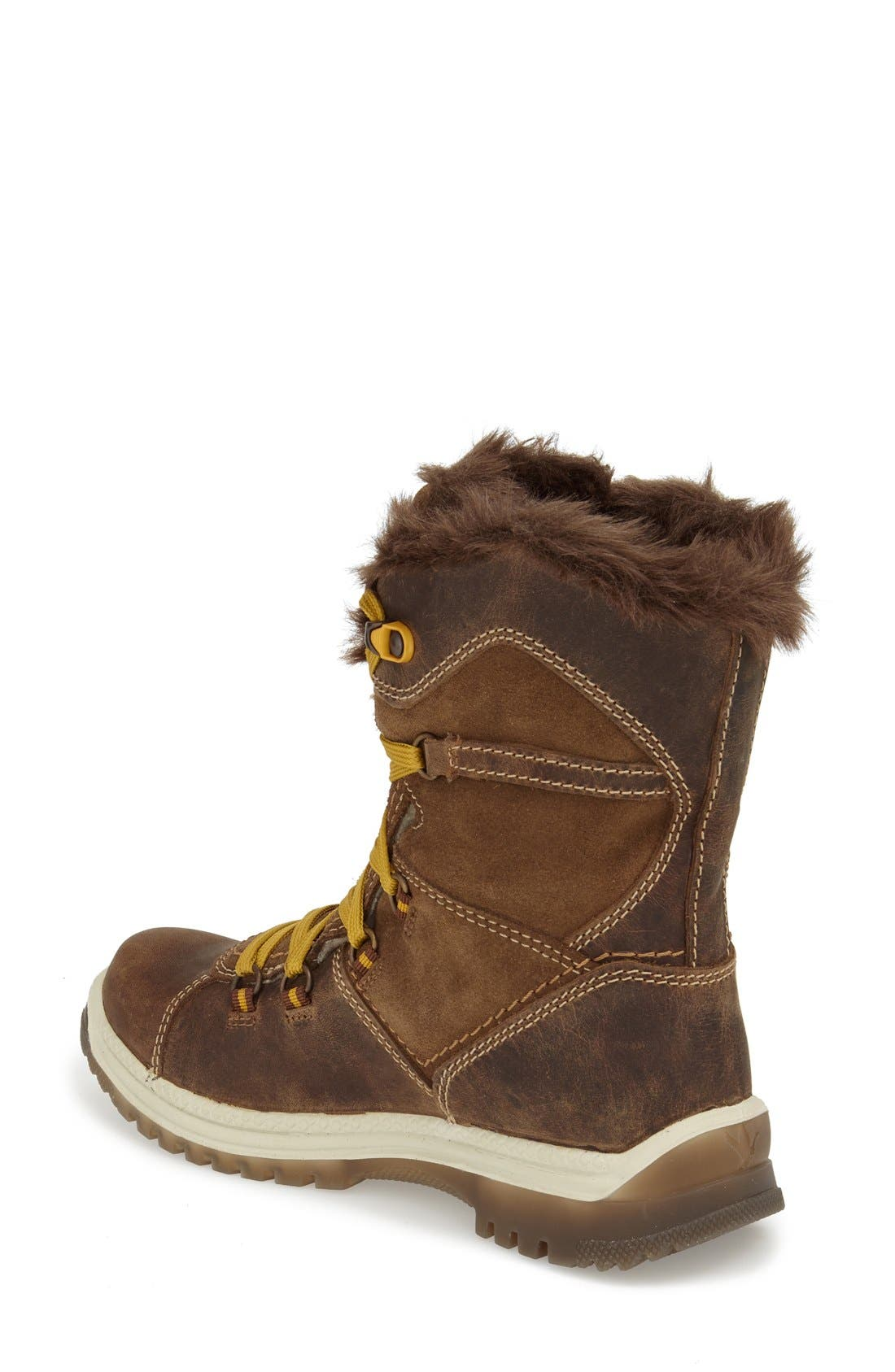 'Majesta' Faux Fur Boot,                             Alternate thumbnail 2, color,                             Brown Leather
