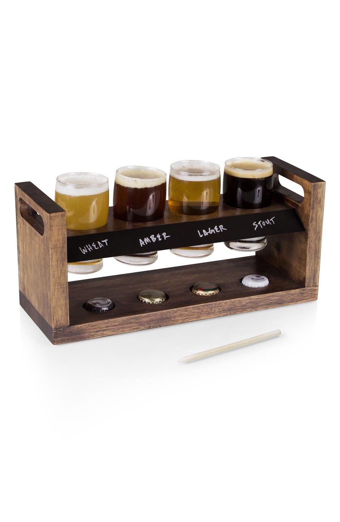 Craft Beer Flight Holder,                             Alternate thumbnail 2, color,                             Brown