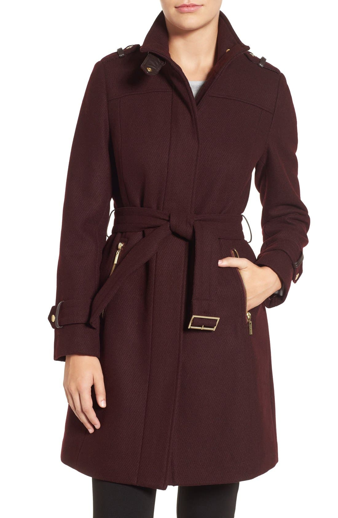 Cole Haan Funnel Neck Wool Blend Coat