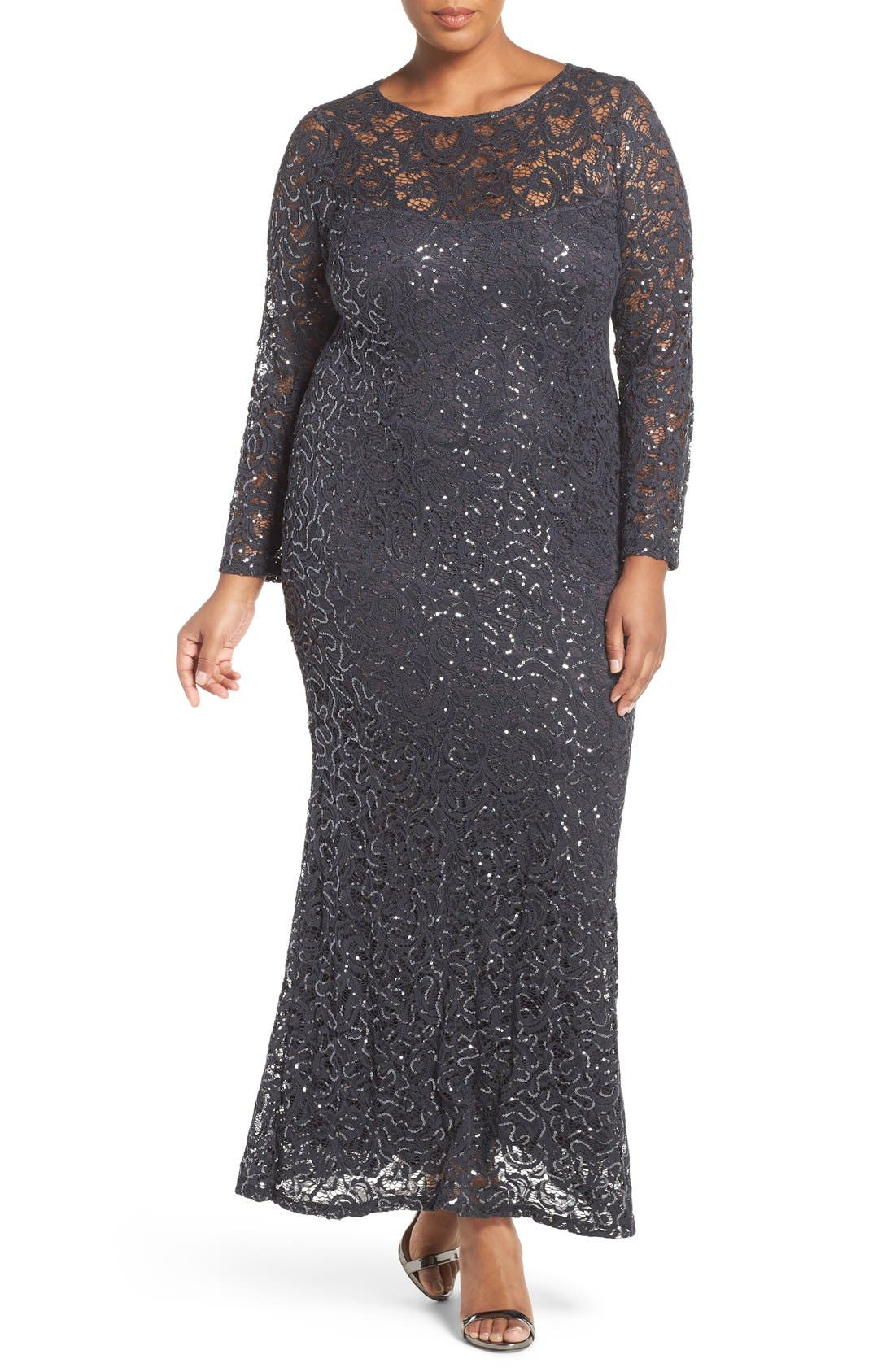 Illusion Yoke & Long Sleeve Lace Gown,                             Main thumbnail 1, color,                             Gunmetal