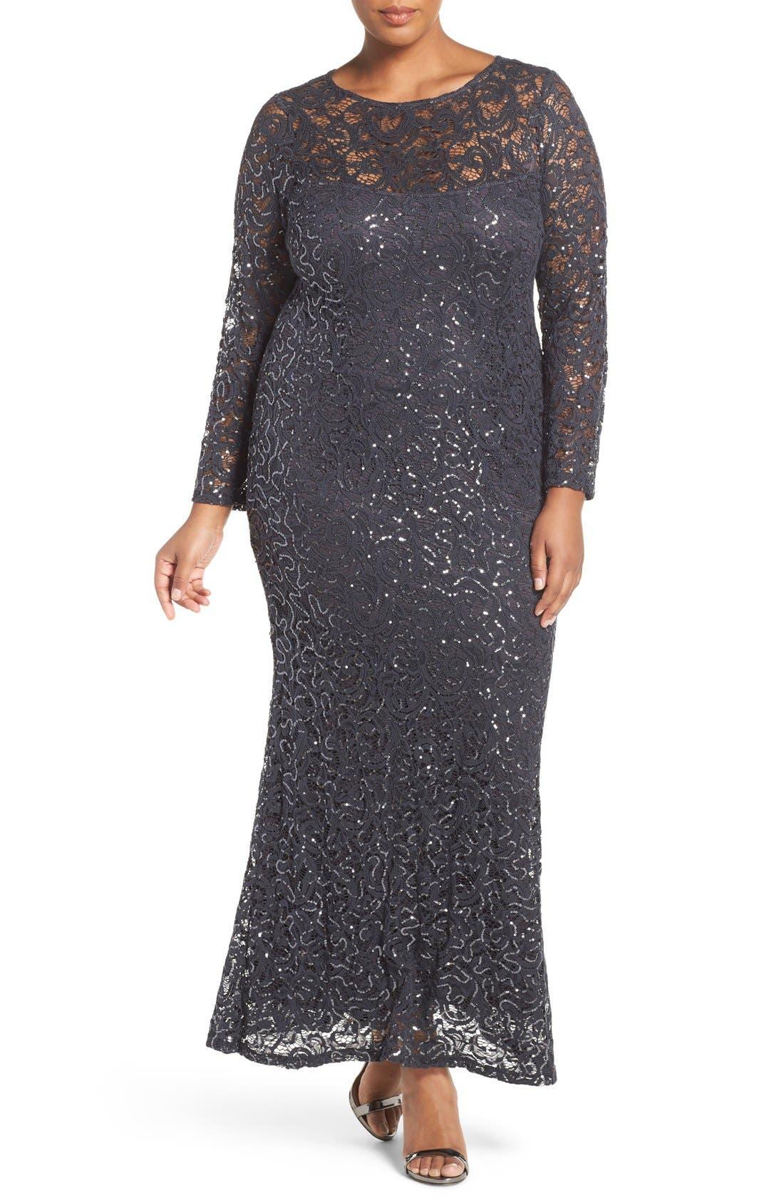 Main Image - Marina Illusion Yoke & Long Sleeve Lace Gown (Plus Size)