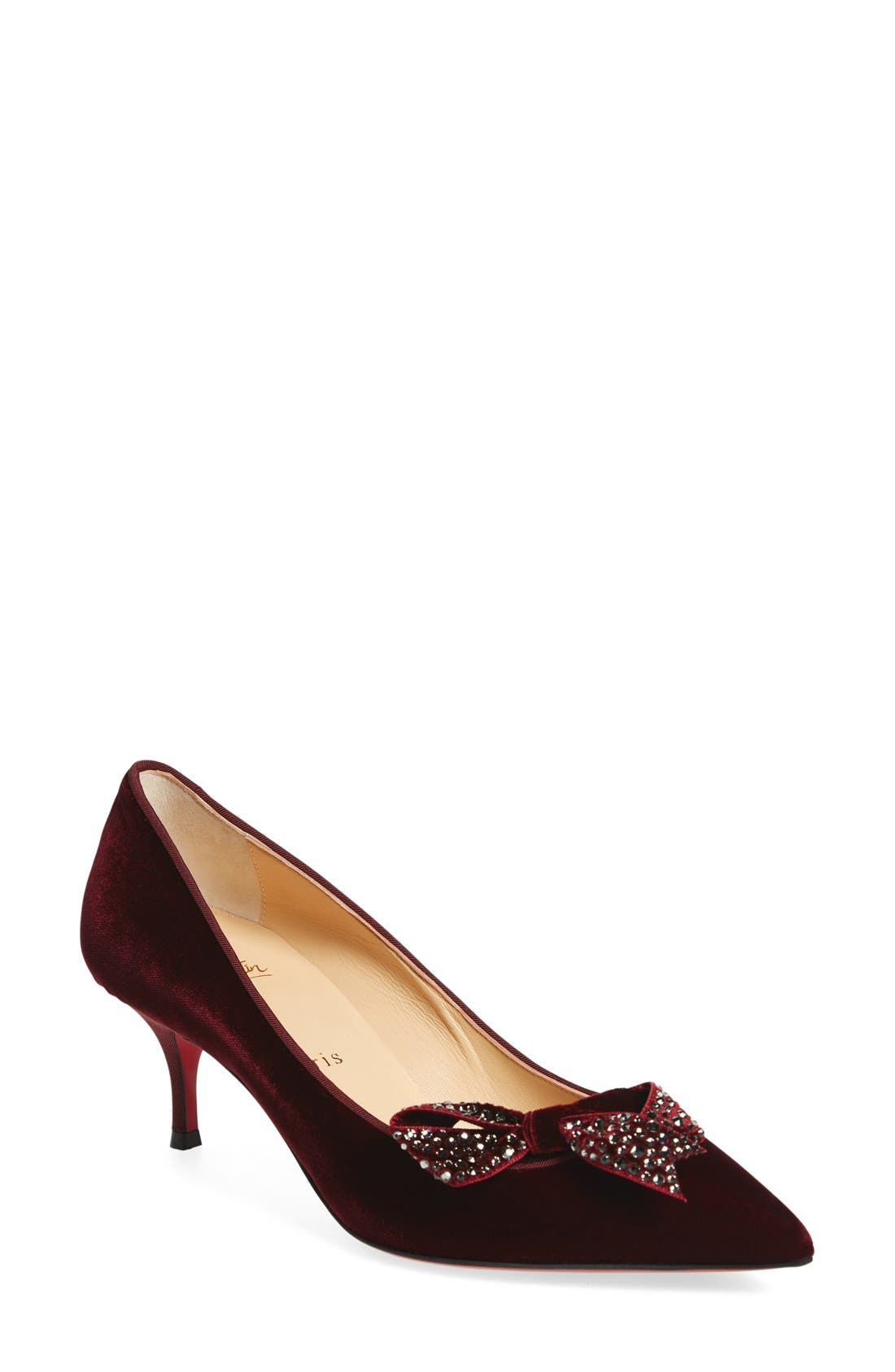 Alternate Image 1 Selected - Christian Louboutin 'Mlle Menule' Embellished Bow Kitten Heel Pump