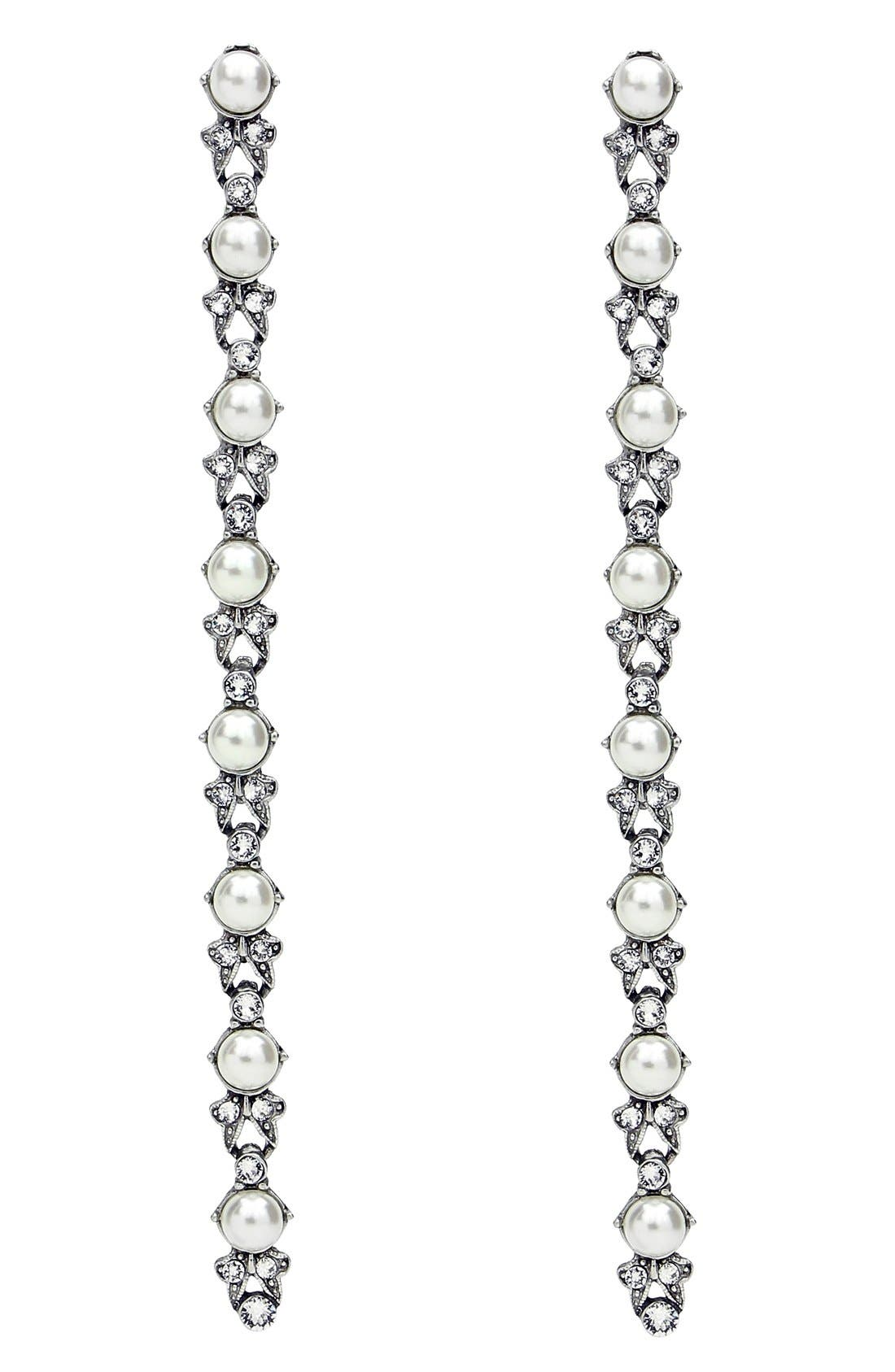 Faux Pearl & Crystal Linear Drop Earrings,                             Main thumbnail 1, color,                             Clear