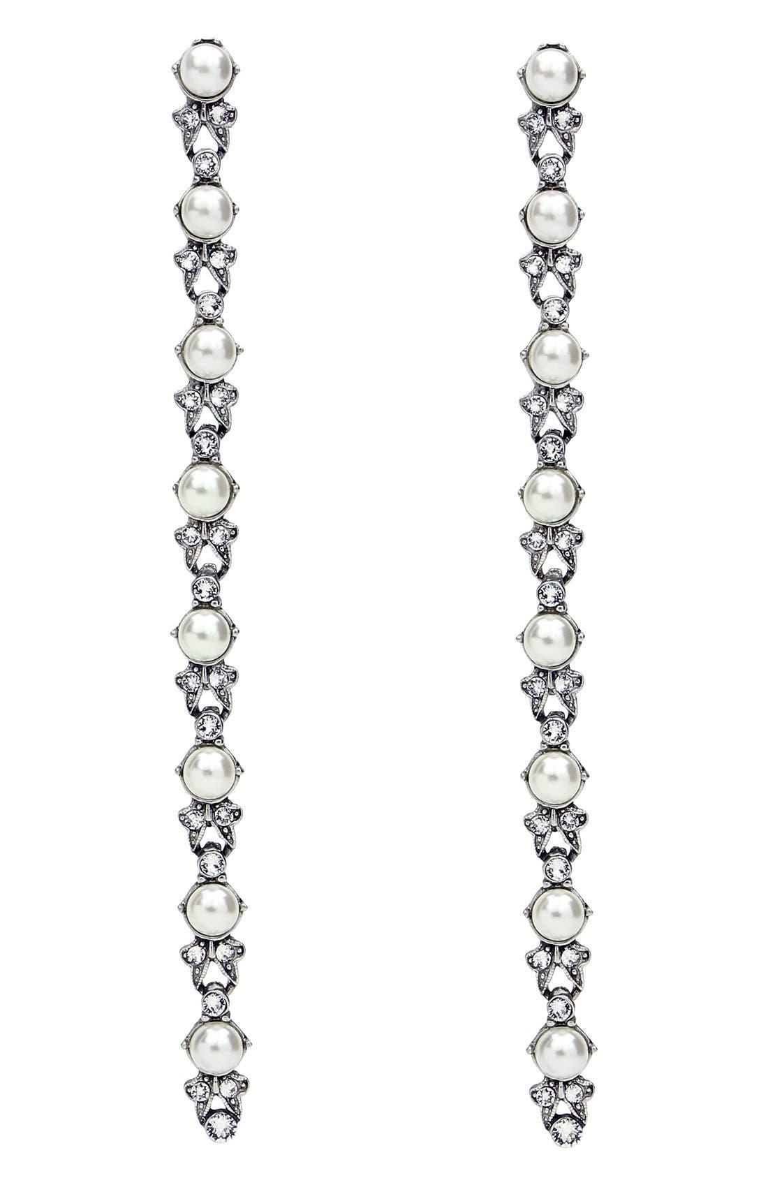 Main Image - BEN-AMUN Faux Pearl & Crystal Linear Drop Earrings