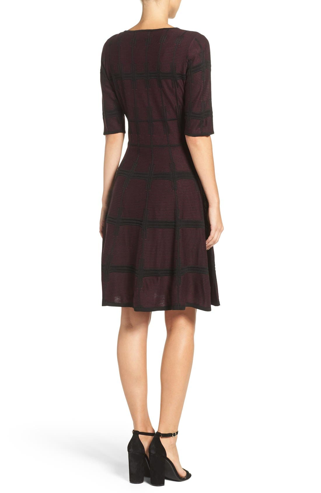 Alternate Image 2  - Ivanka Trump Plaid Sweater Knit Fit & Flare Dress