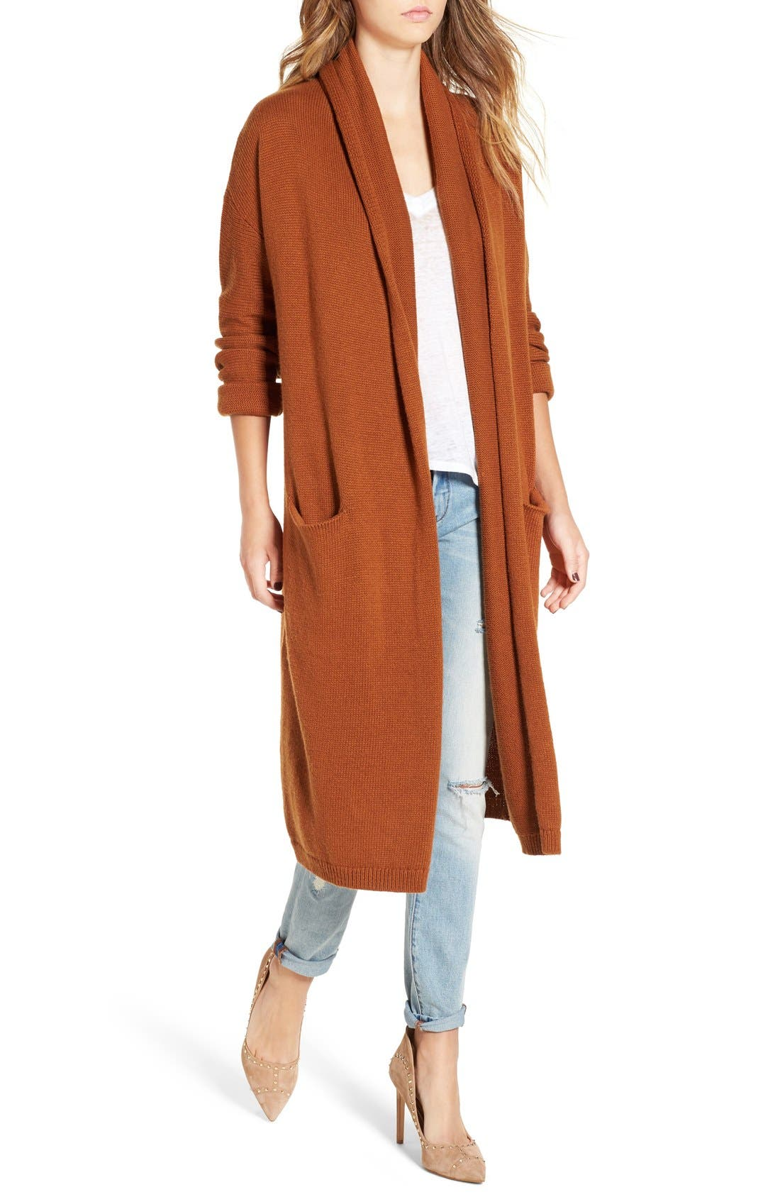 Alternate Image 4  - Leith Easy Fit Long Cotton Blend Cardigan
