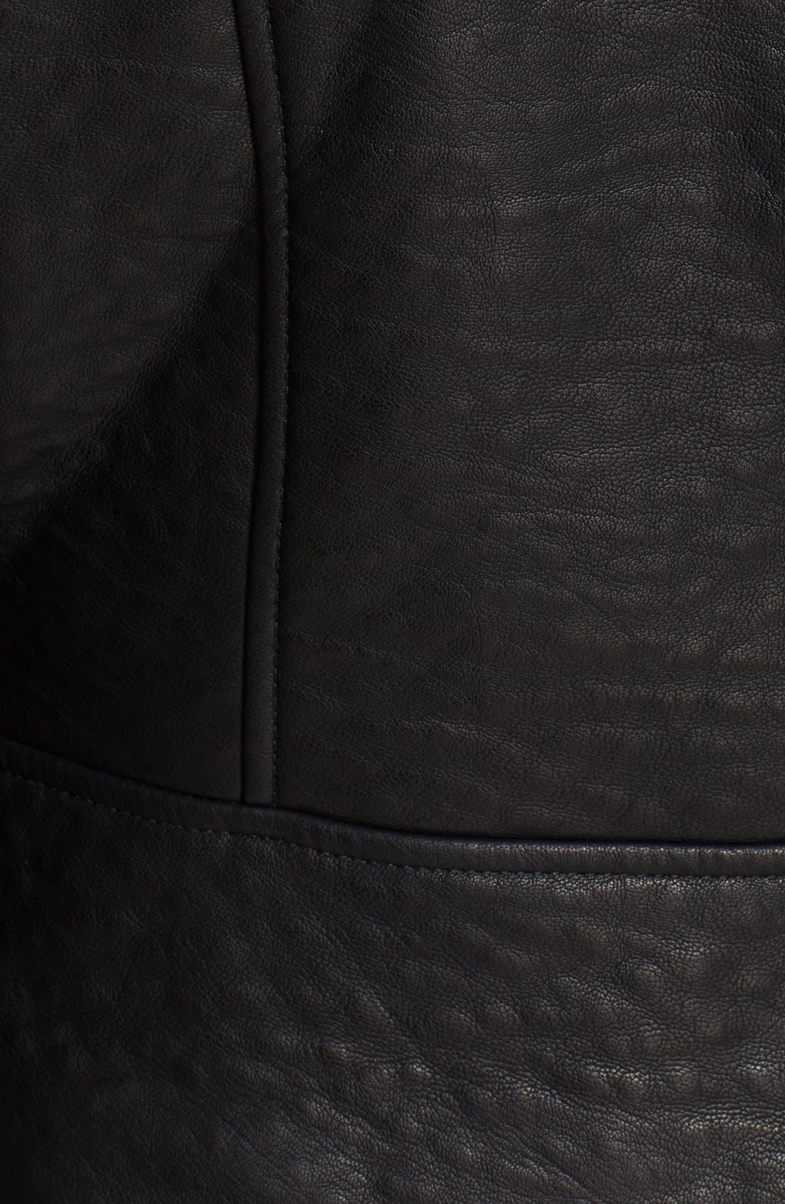 'Soho' Faux Leather Moto Jacket,                             Alternate thumbnail 5, color,                             Black