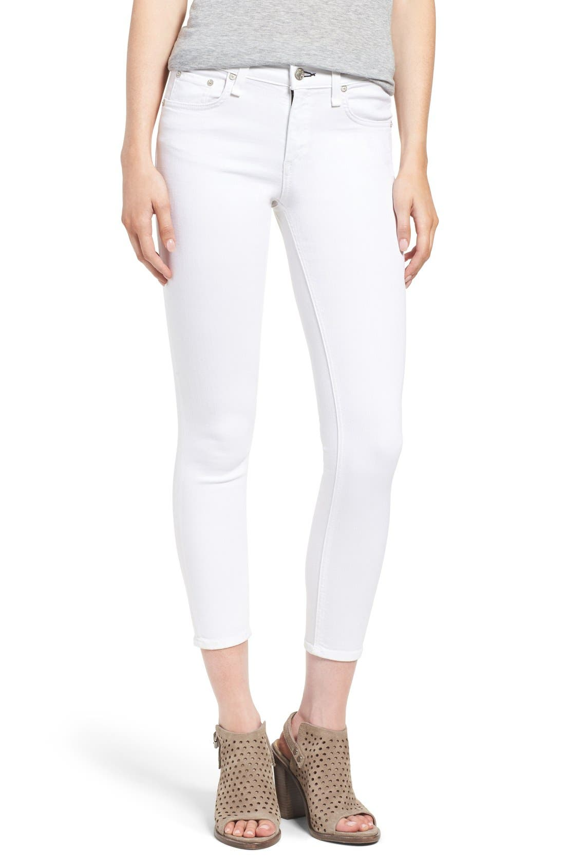 Main Image - rag & bone/JEAN 'Capri' Skinny Crop Jeans (Bright White)