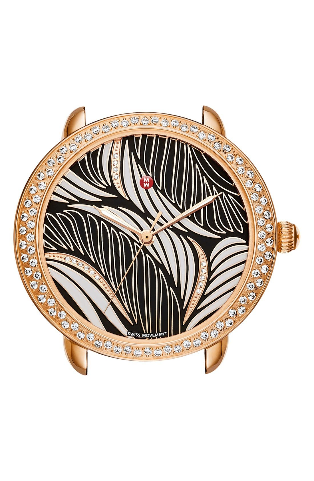 Serein 16 Diamond Watch Case, 34mm x 36mm,                         Main,                         color, Rose Gold/ Black And White