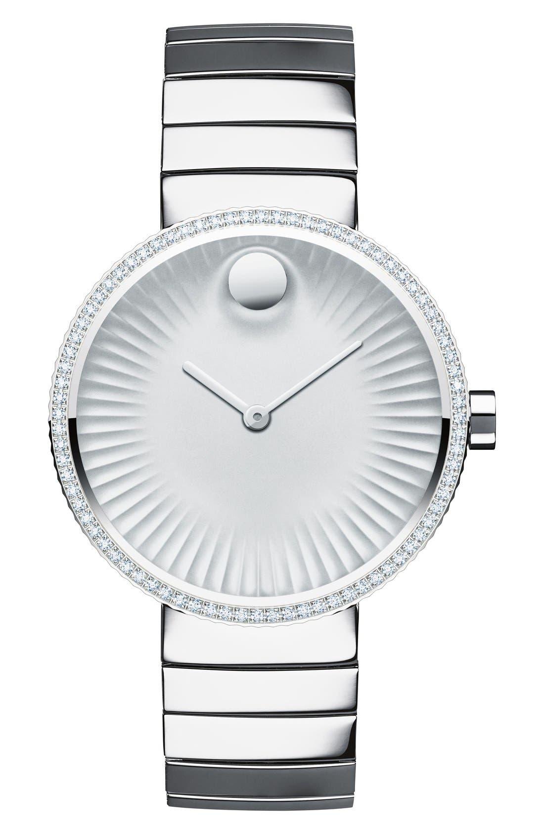 'Edge' Diamond Bracelet Watch, 34mm,                             Main thumbnail 1, color,                             Silver