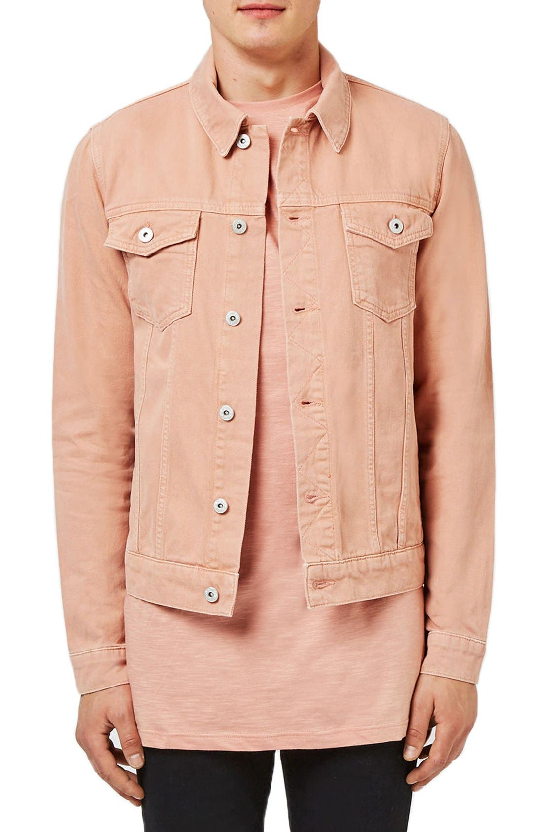 Main Image - Topman Pink Denim Western Jacket