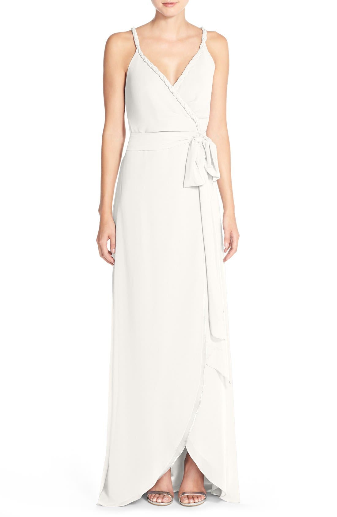 Parker Twist Strap ChiffonWrap Gown,                             Main thumbnail 1, color,                             Going To The Chapel