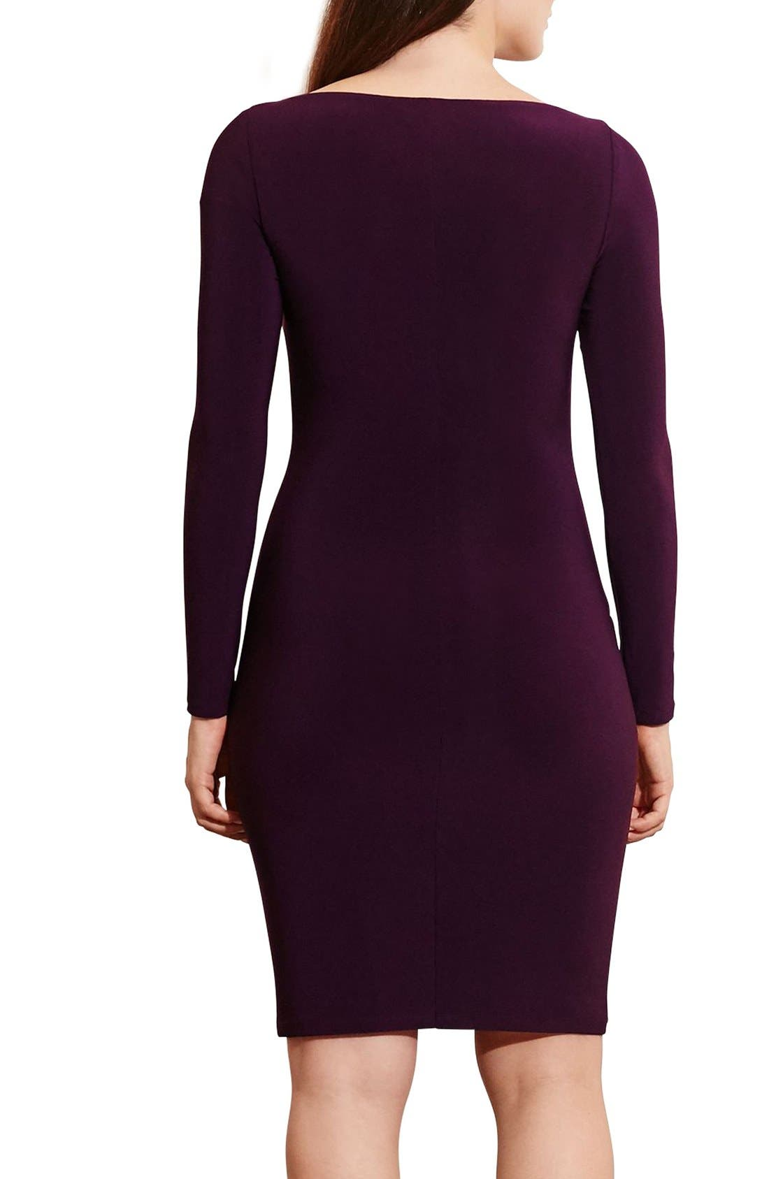 Alternate Image 2  - Lauren Ralph Lauren Mesh Inset Side Pleat Jersey Dress (Plus Size)