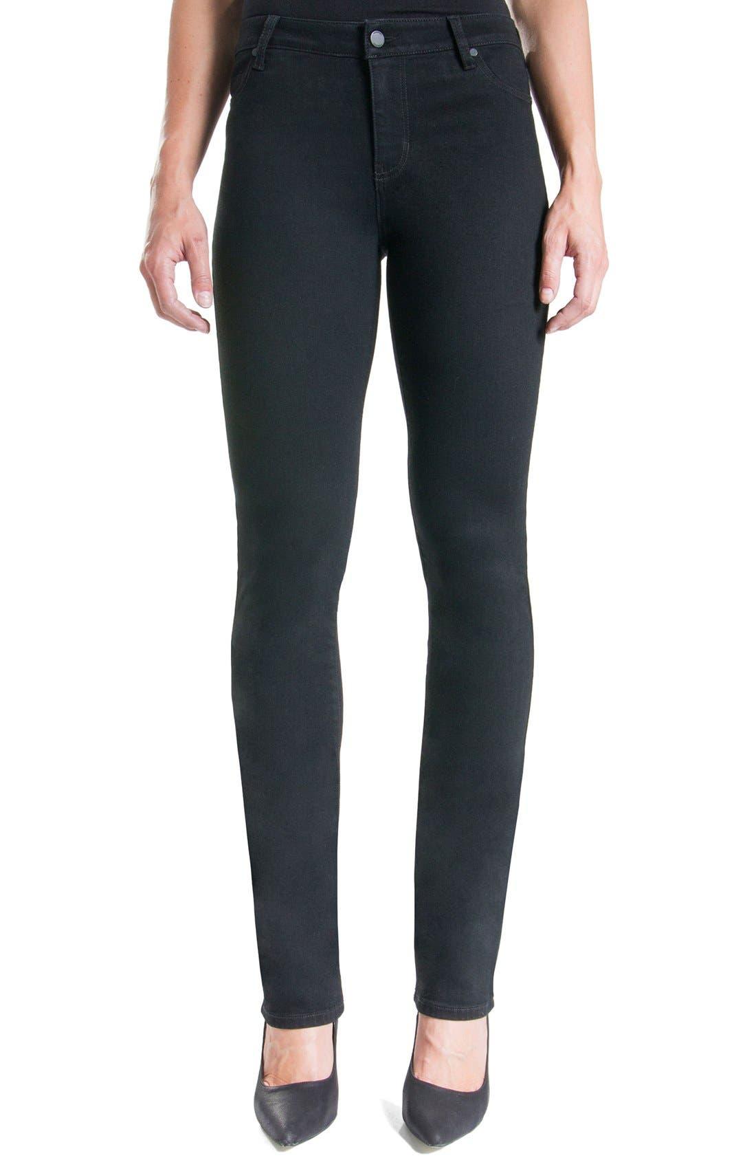 Liverpool Jeans Company Sadie Mid Rise Stretch Straight Jeans (Black Rinse) (Regular & Petite)