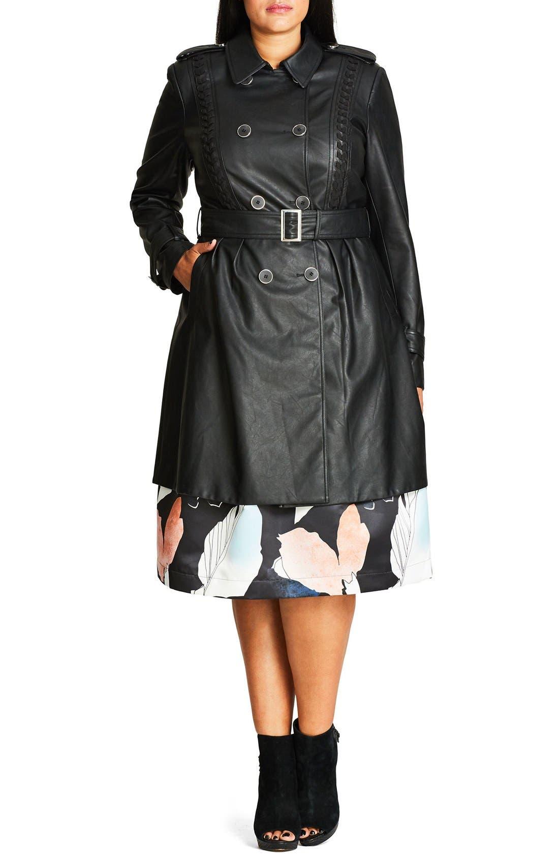 'Vinyl Weave' Braid Detail Faux Leather Trench Coat,                         Main,                         color, Black