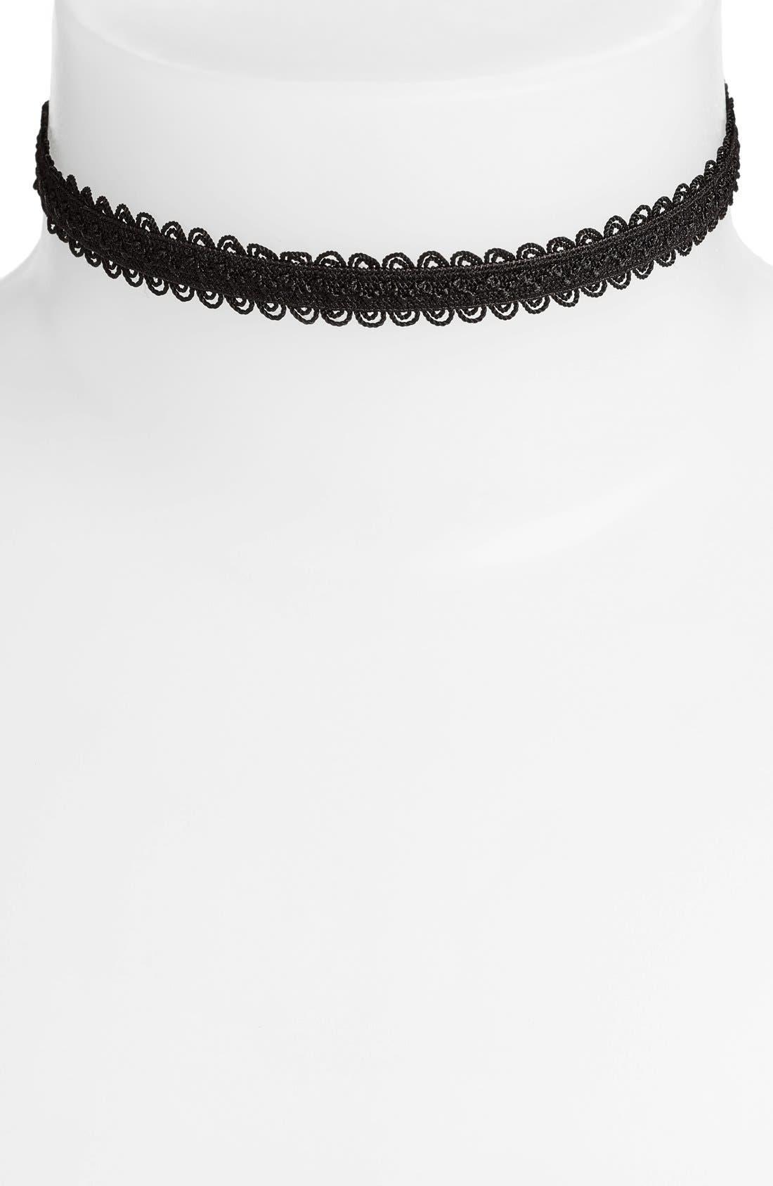 Black Lace Choker,                         Main,                         color, Black