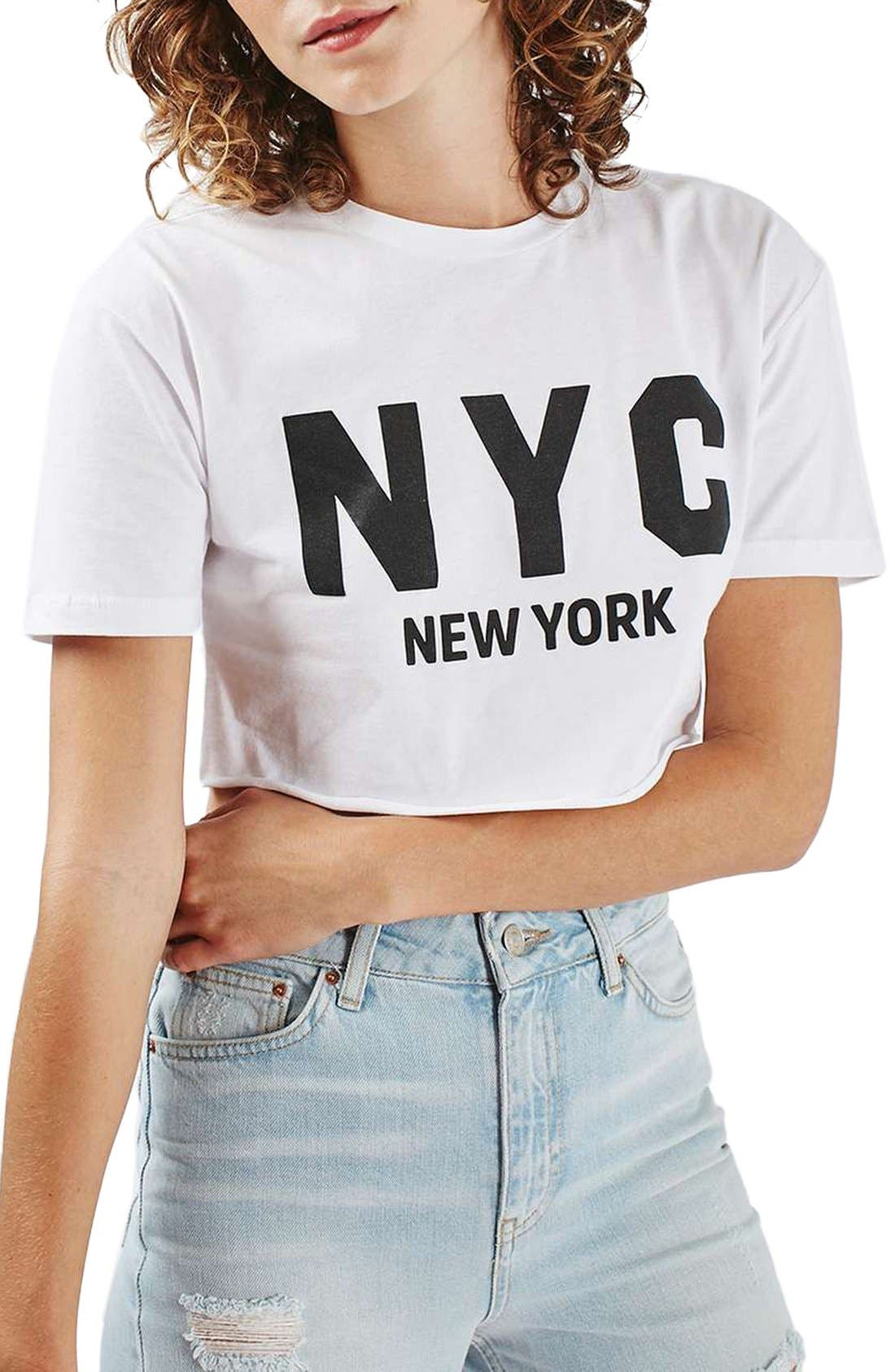 Alternate Image 1 Selected - Topshop New York Graphic Crop Top (Regular & Petite)