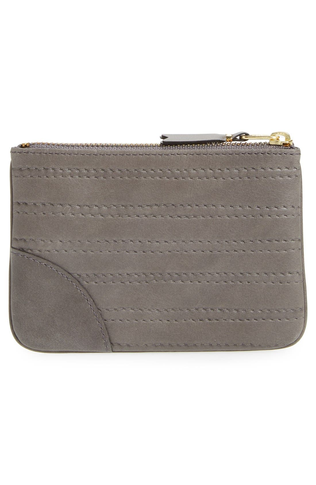 Embossed Leather Top Zip Pouch Wallet,                             Alternate thumbnail 2, color,                             Grey
