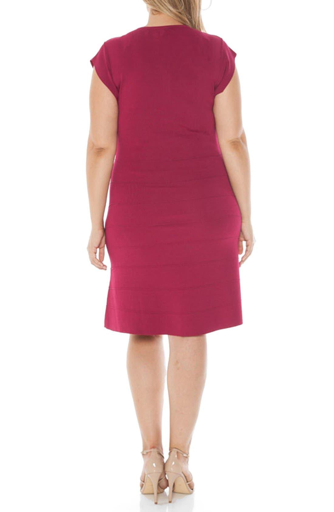 Cap Sleeve Knit A-Line Dress,                             Alternate thumbnail 2, color,                             Wine