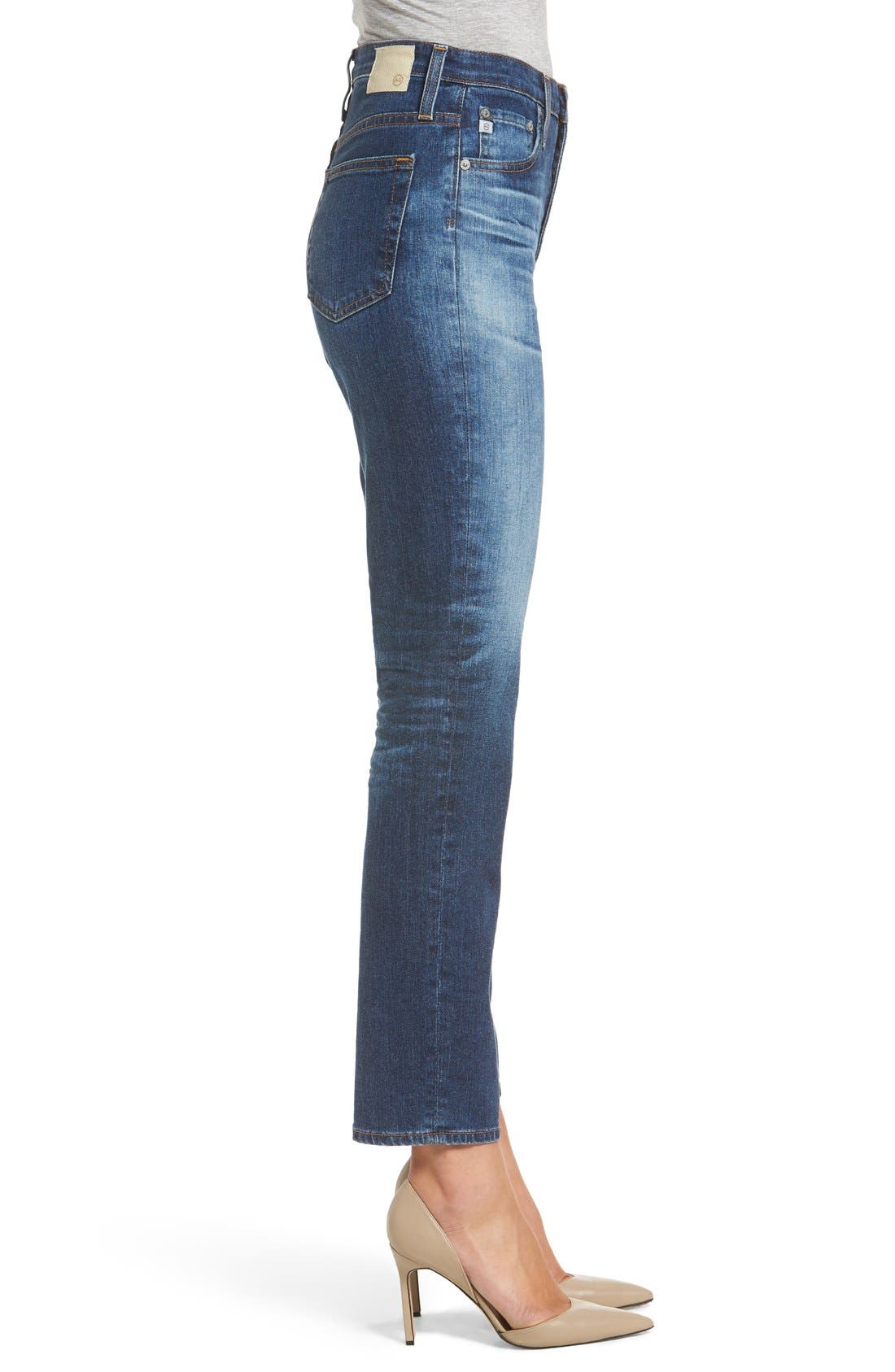 'The Phoebe' Vintage High Rise Straight Leg Jeans,                             Alternate thumbnail 3, color,                             10Y Wick